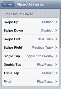 MusicGestures tweak din Cydia pentru controlarea aplicatiei Music a iOS