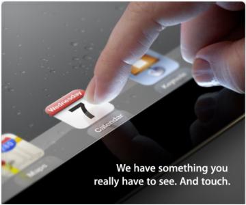 Invitatie pentru evenimentul de prezentare a iPad 3
