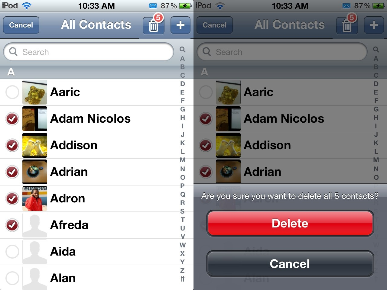 how to delete imo contact