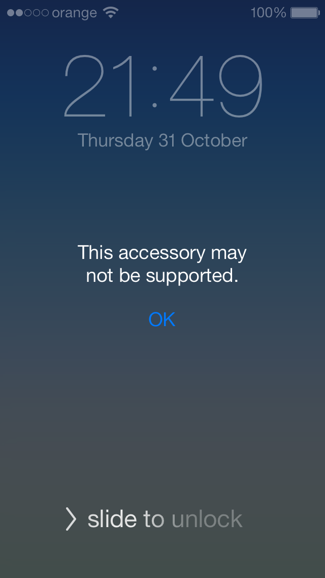 iphone this accessory may not be supported ios 7 si o problema extrem de deranjanta idevice ro 1033