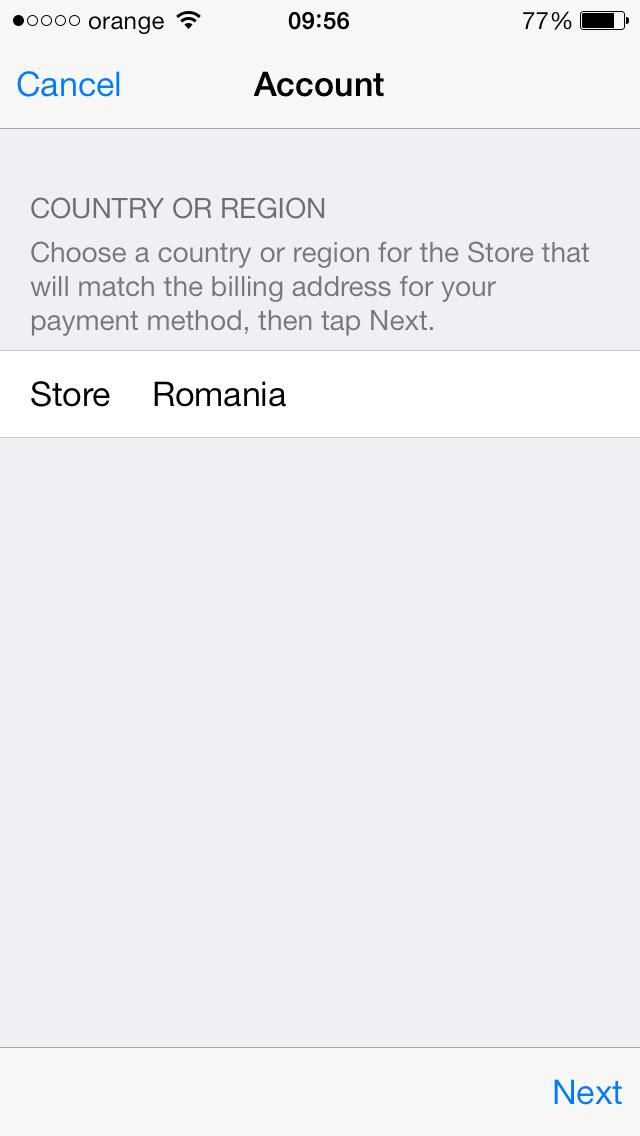 Schimbare tara app store