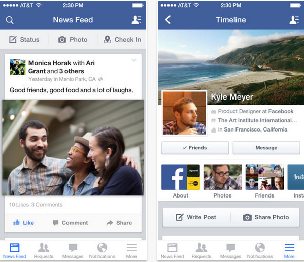 Facebook iOS 7 - iDevice.ro