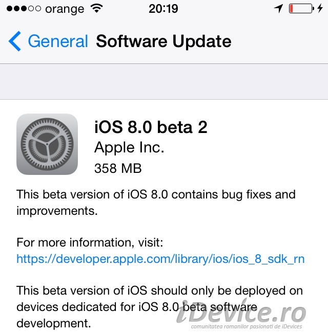 iOS 8 beta 2 iDevice.ro