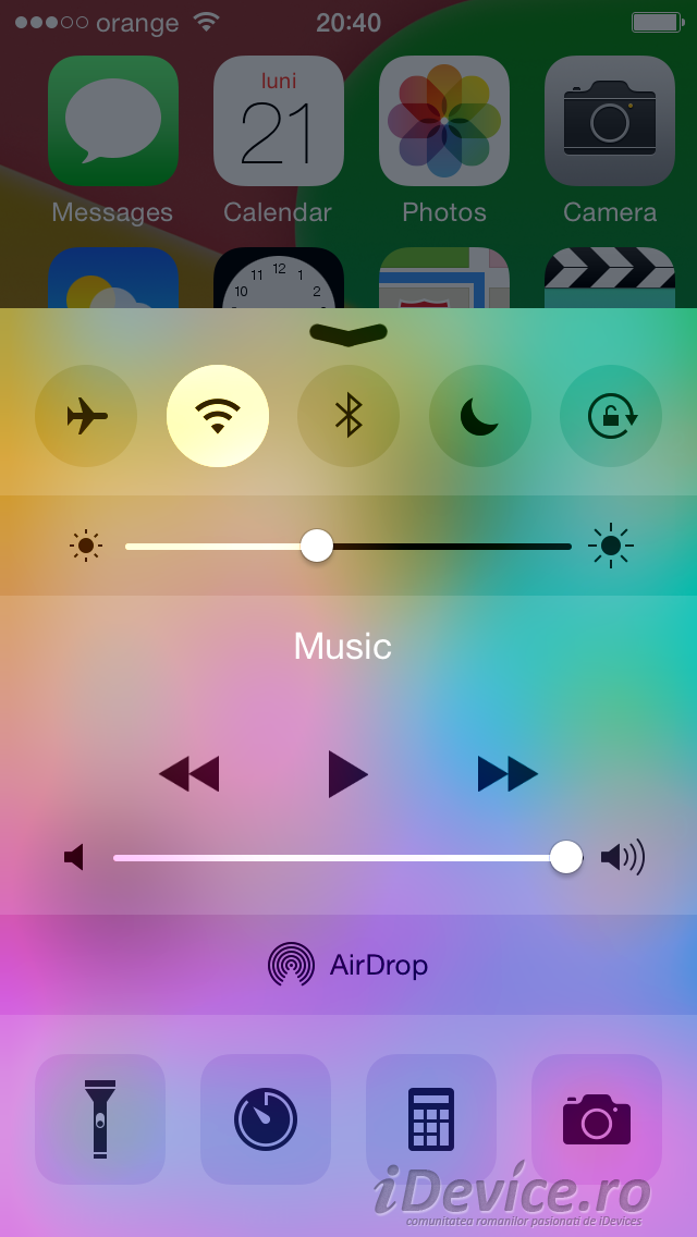 iOS 8 beta 4 Control Center design - iDevice.ro