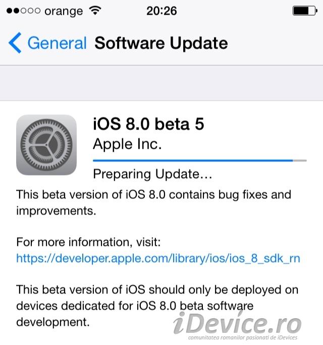 iOS 8 beta 5 noutati - iDevice.ro