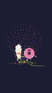 Happy Ice Cream And Donut Playing Sprinkler iPhone 5 Wallpaper