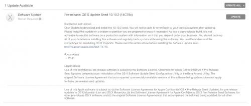 OS X Yosemite 10.10.2 beta build 14C78c