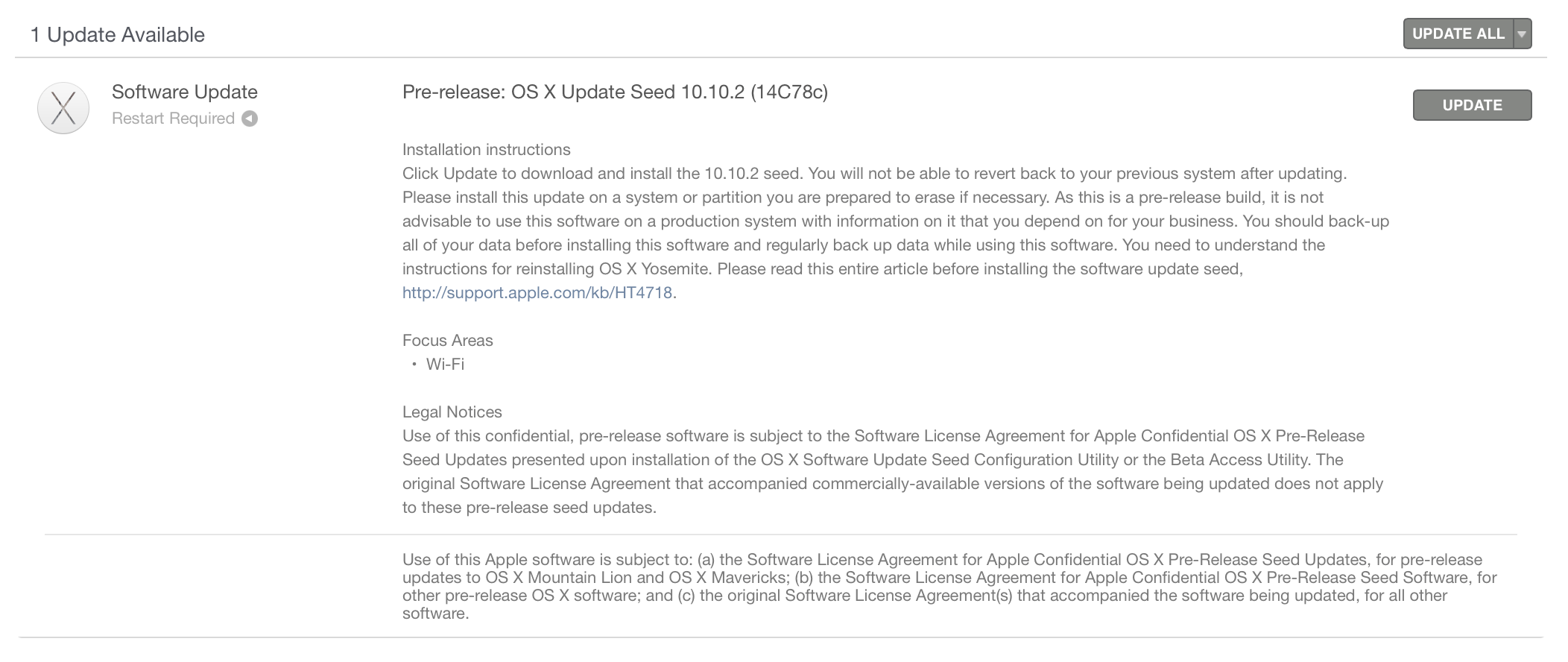 OS X Yosemite 10.10.2 beta build 14C78c