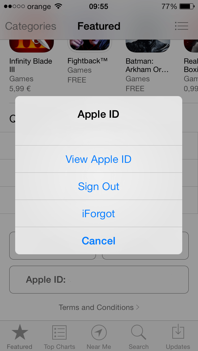 Schimb tara Apple ID