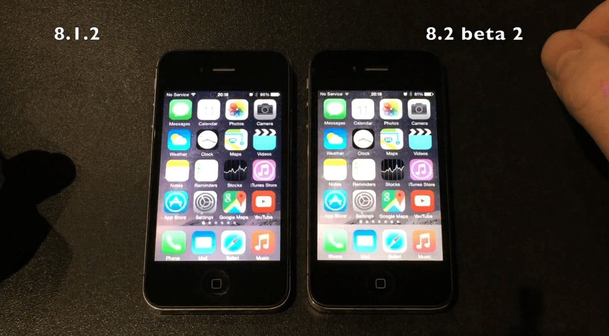 iOS 8.1.2 vs iOS 8.2 beta 2 pe iPhone 4S