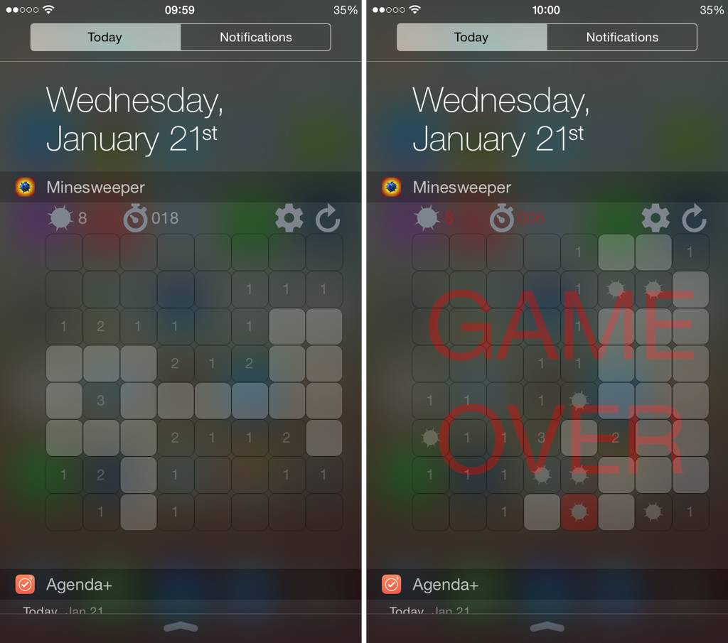 Minesweeper widget