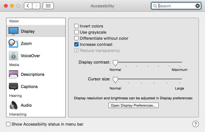 OS X Yosemite increase contrast