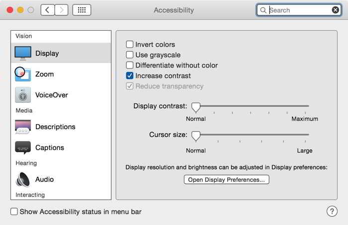 OS X Yosemite increase contrast