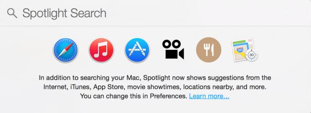 OS X Yosemite Spotlight search