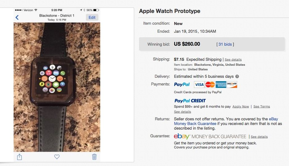 prototip Apple Watch