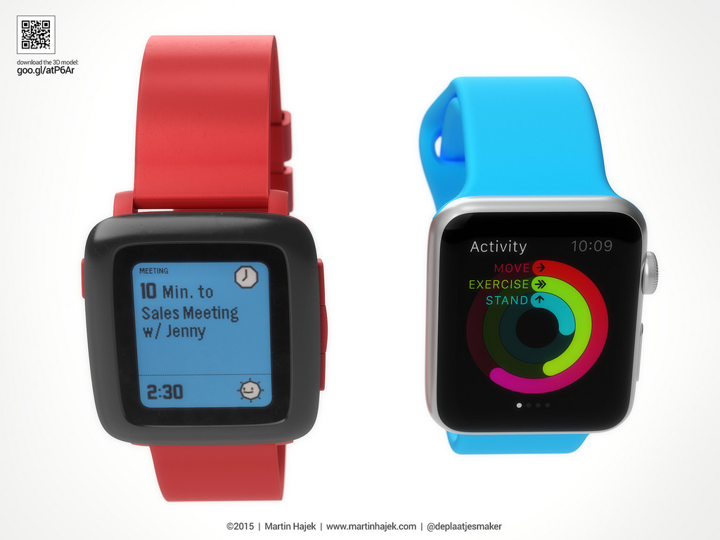 Apple Watch vs Pebble Watch 3