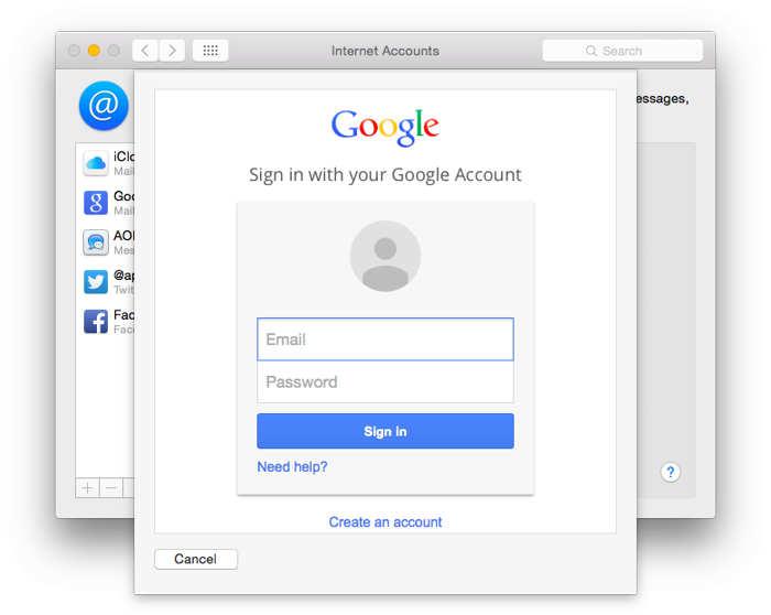 OS X Yosemite 10.10.3 Google