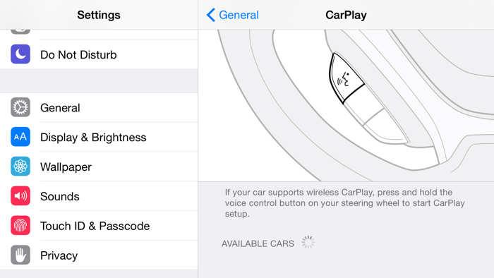 iOS 8.3 CarPlay wireless