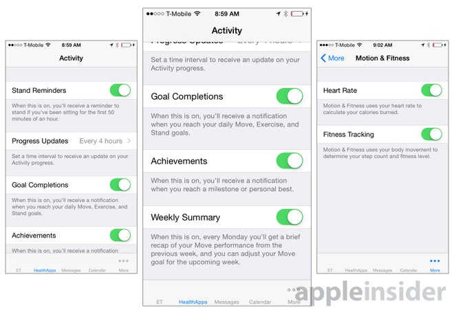 interfata aplicatie Apple Watch 2
