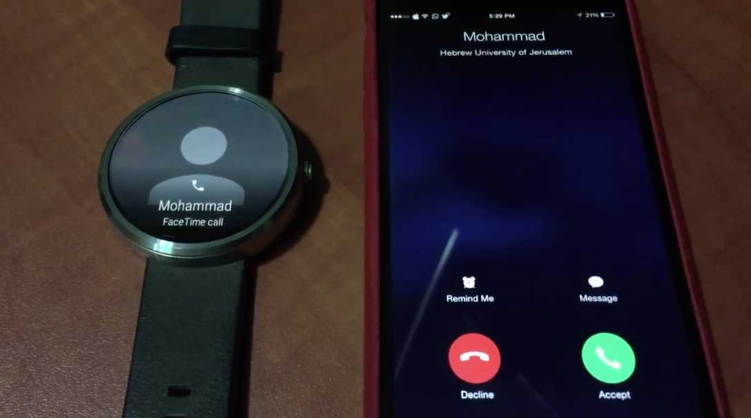 Android Wear apel iPhone