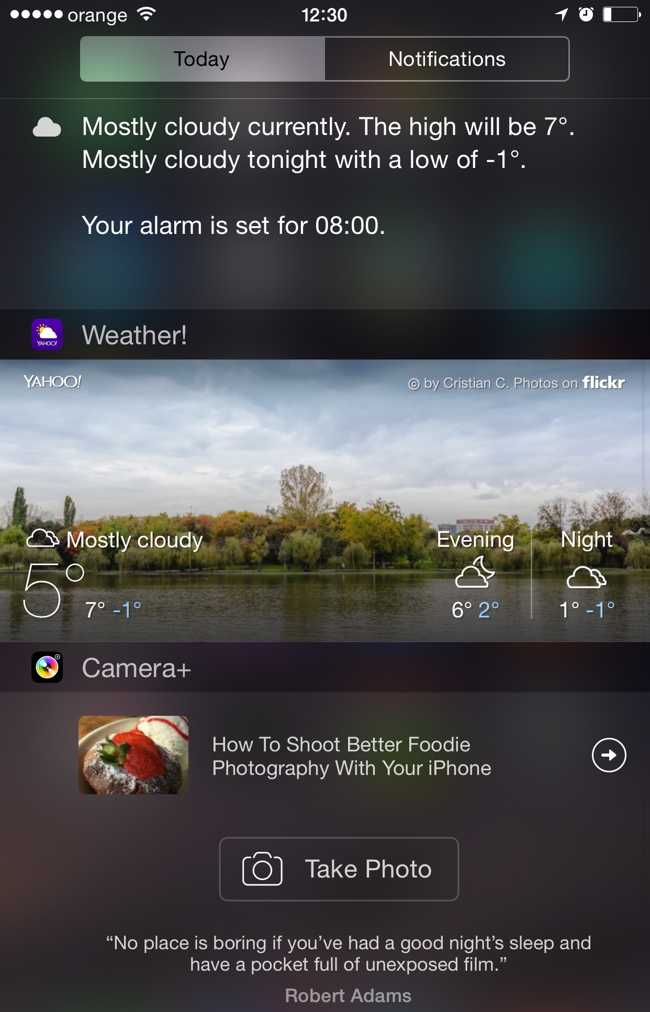 Camera+ widget inregistrare poze Notifications Center