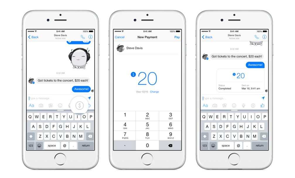Facebook Messenger trimitere bani
