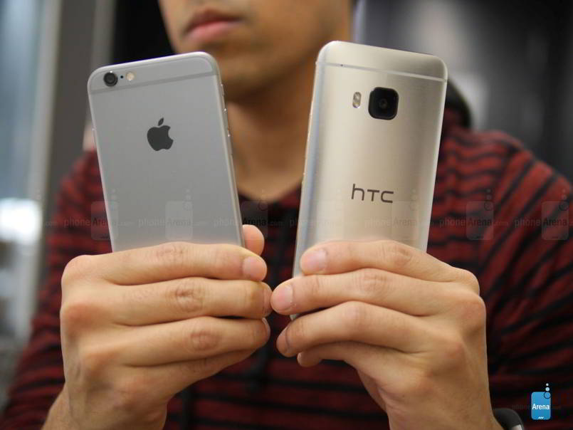 HTC ONE M9 IPHONE 6 comparatie feat