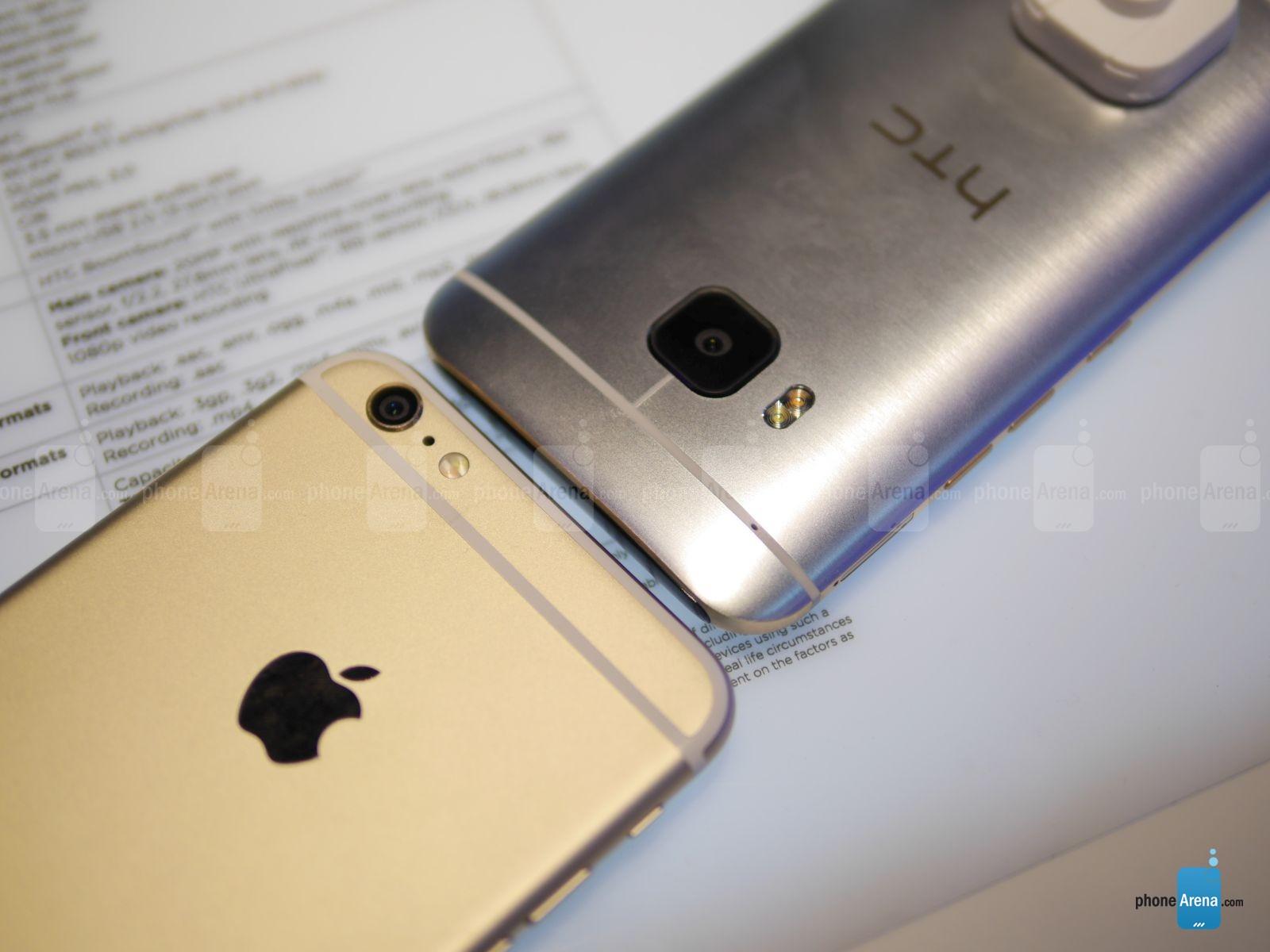HTC ONE M9 vs iPhone 6 Plus comparatie design 1