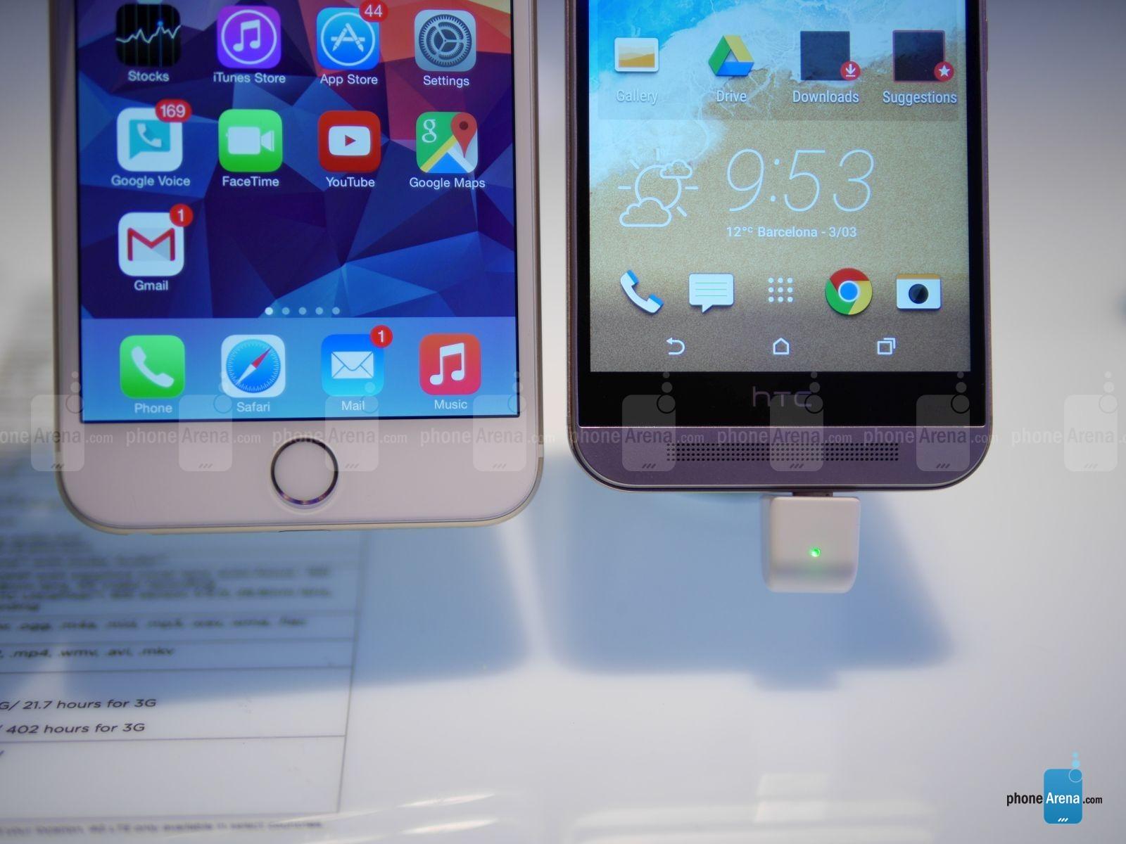HTC ONE M9 vs iPhone 6 Plus comparatie design 2