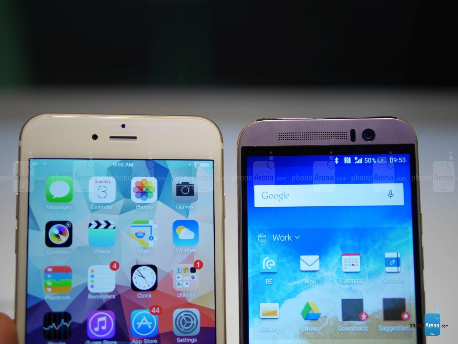 HTC ONE M9 vs iPhone 6 Plus comparatie design 3