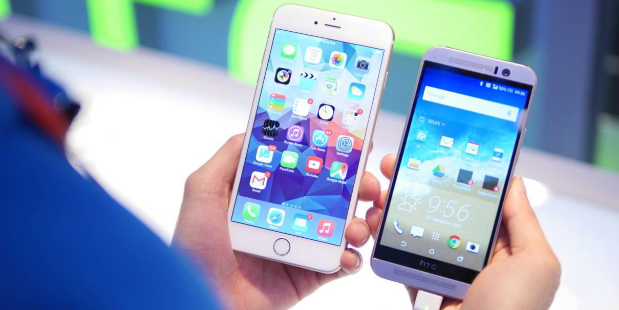 HTC ONE M9 vs iPhone 6 Plus comparatie design feat