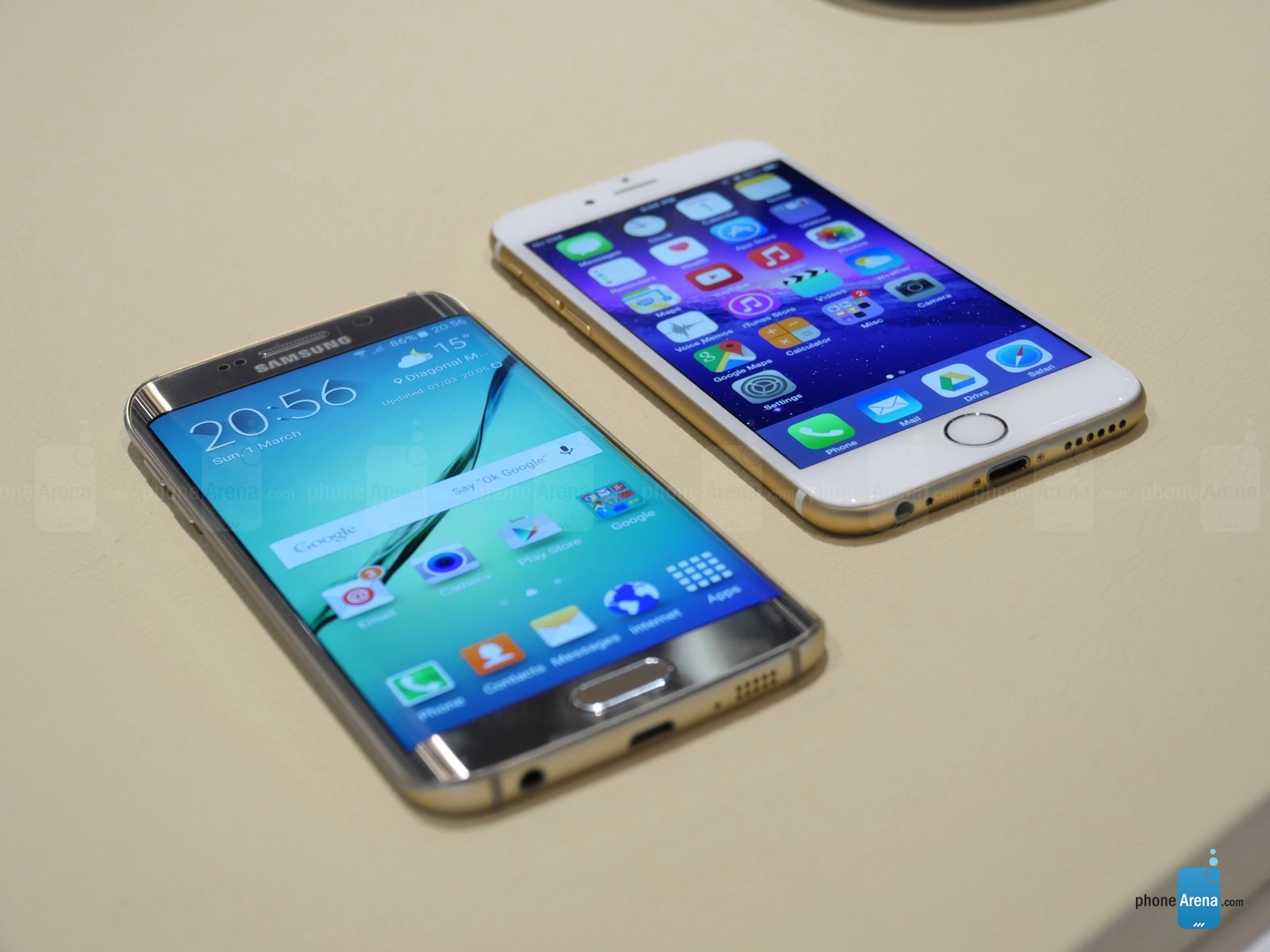 Samsung Galaxy S6 Edge vs iPhone 6 comparatie design 1