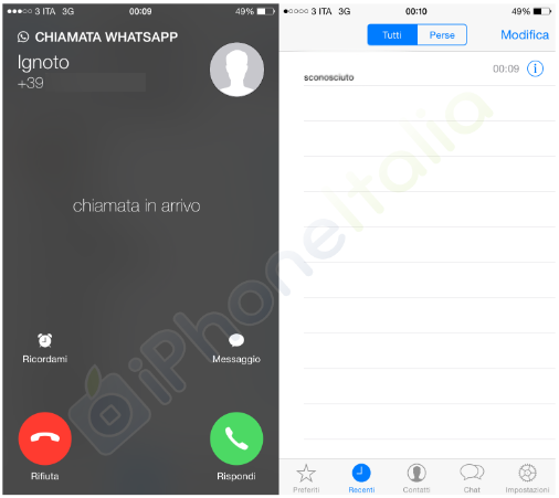 WhatsApp Messenger apeluri VoIP interfata 1