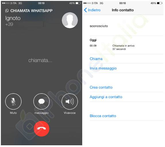 WhatsApp Messenger apeluri VoIP interfata