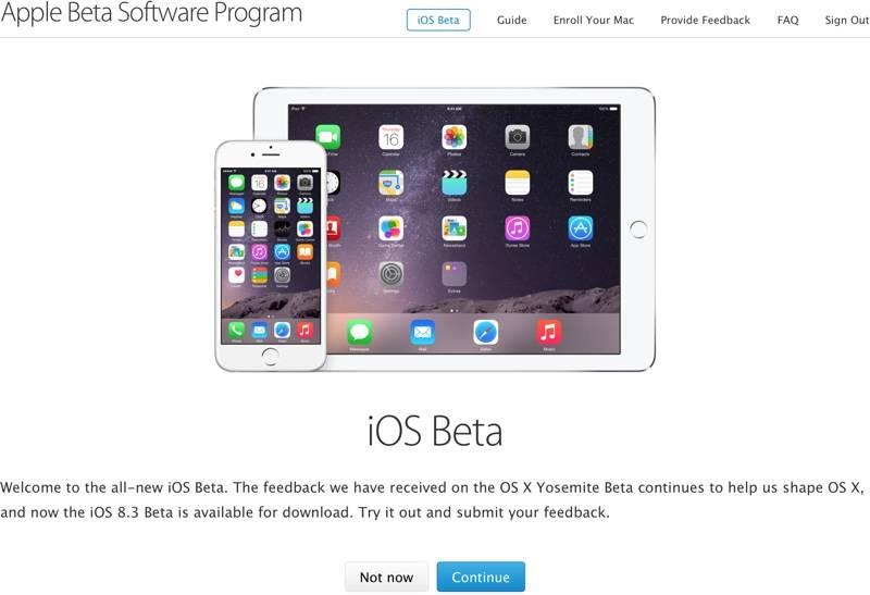 iOS 8.3 beta testare publica
