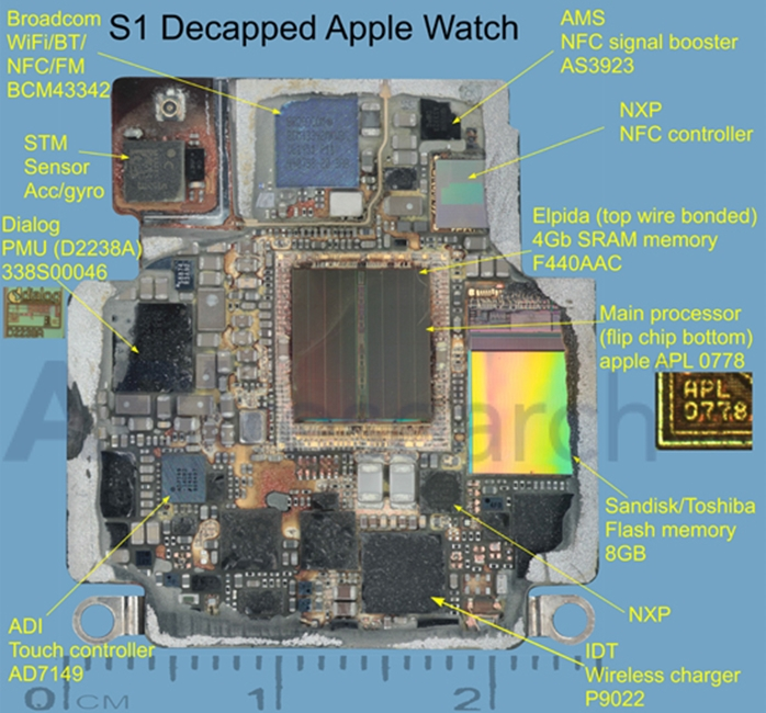 Apple Watch S1 chip componente