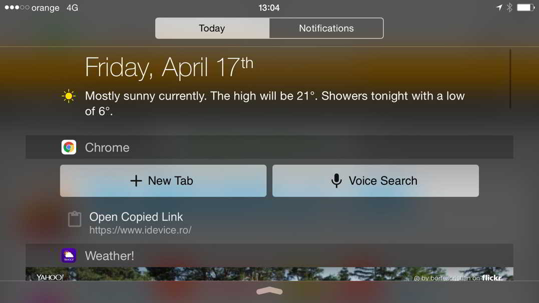 Google Chrome iPhone Notifications Center