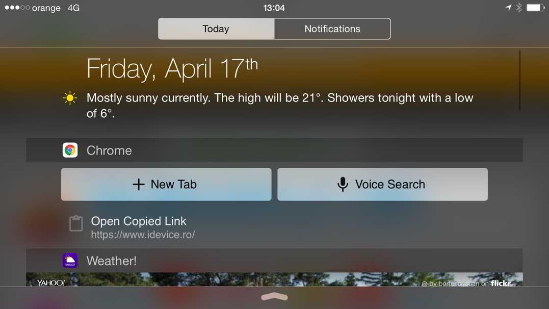 Google Chrome iPhone Notifications Center