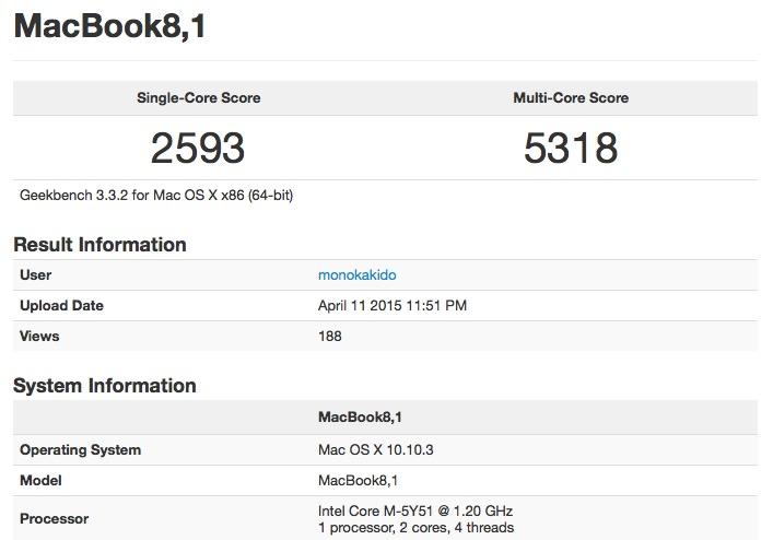 MacBOok 12 inch procesor 1.2 GHz benchmark