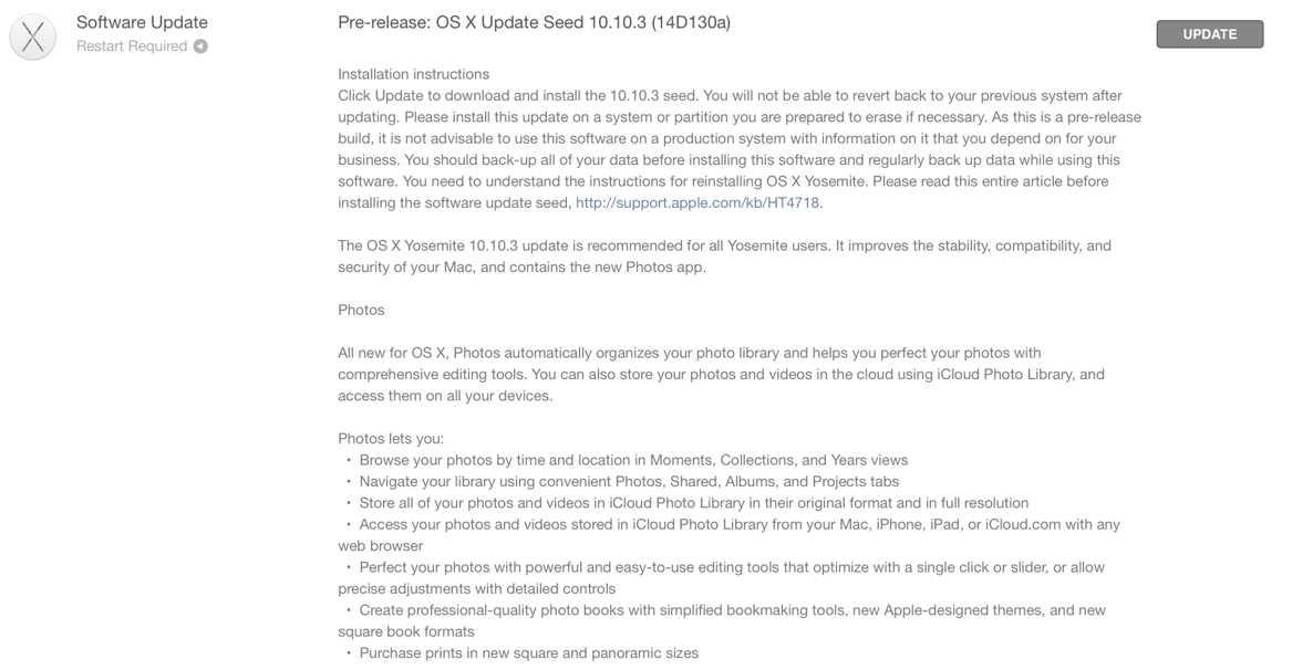 OS X Yosemite 10.10.3 beta build 13D130a
