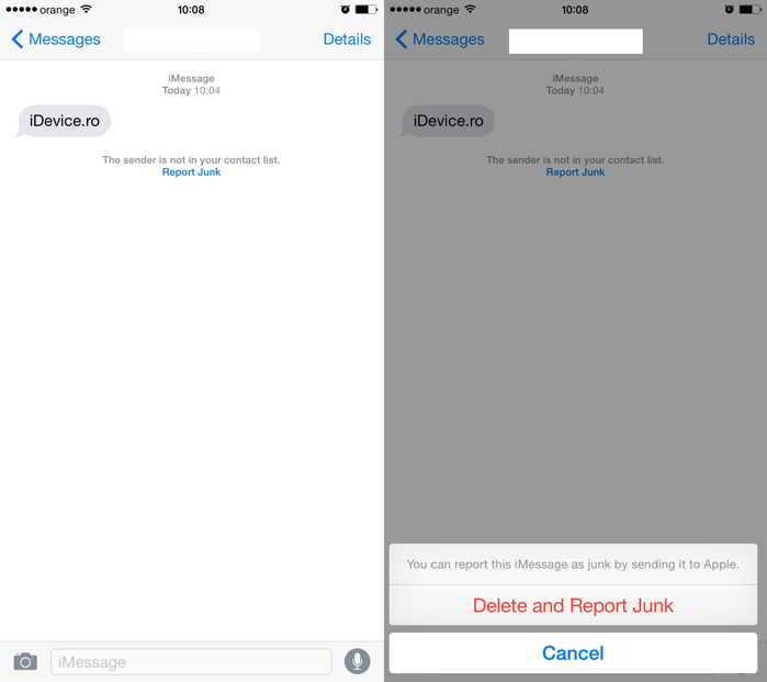 iOS 8.3 raportare mesaje spam