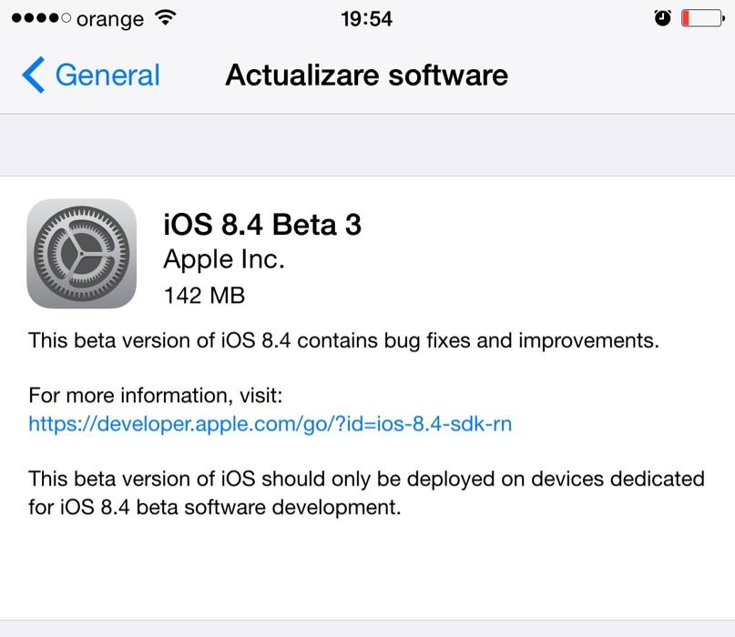 Descarca instaleaza iOS 8.4 beta 3 fara UDID