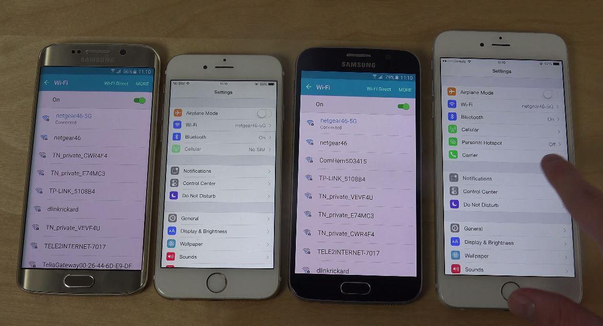 iPhone 6 vs Samsung Galaxy S6 viteza wifi