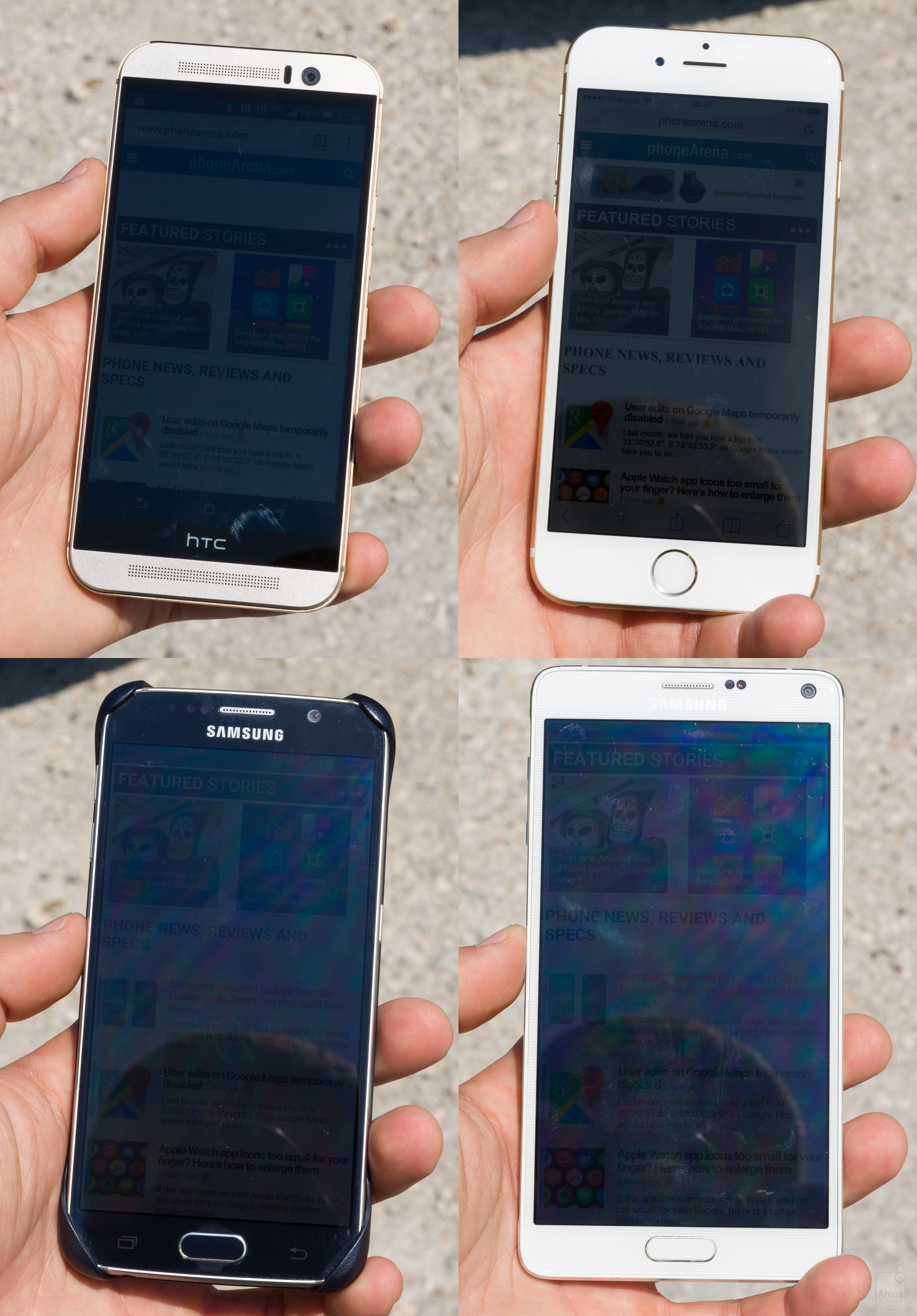 test ecran afisare imagini aer liber iPhone 6 vs Galaxy S6 vs One M9 vs Galaxy Note 6 3