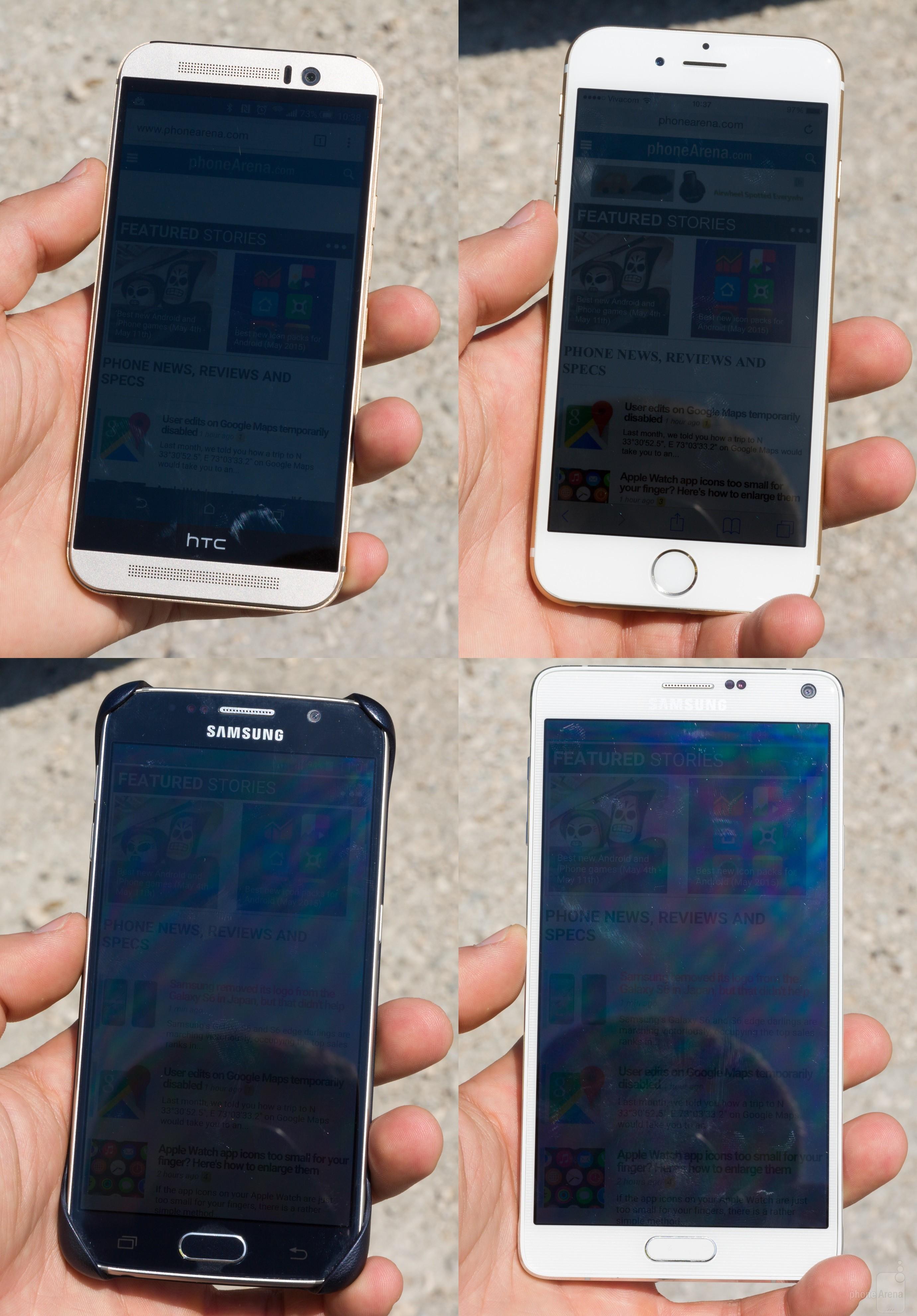 test ecran afisare imagini aer liber iPhone 6 vs Galaxy S6 vs One M9 vs Galaxy Note 6