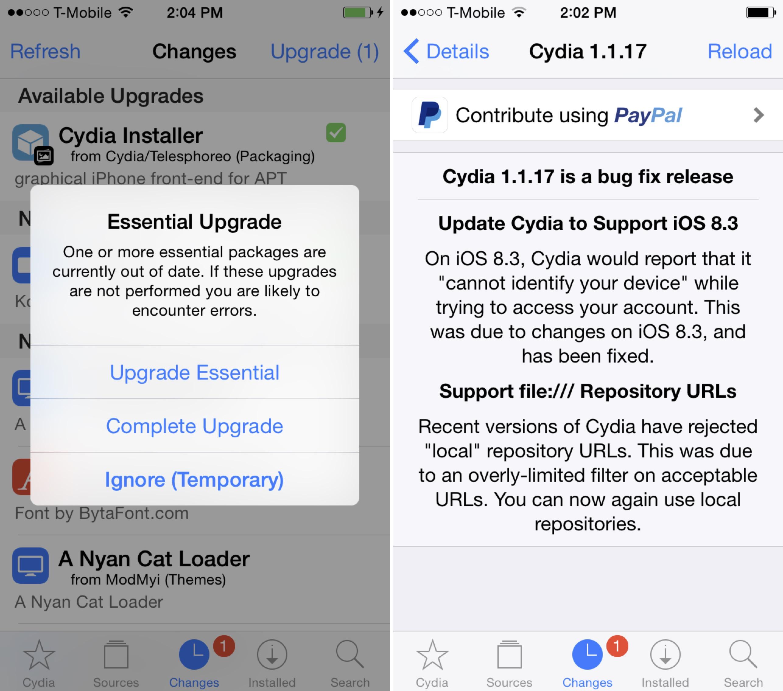 Cydia 1.1.7 compatibilitate iOS 8.3 1