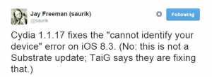 Cydia 1.1.7 compatibilitate iOS 8.3