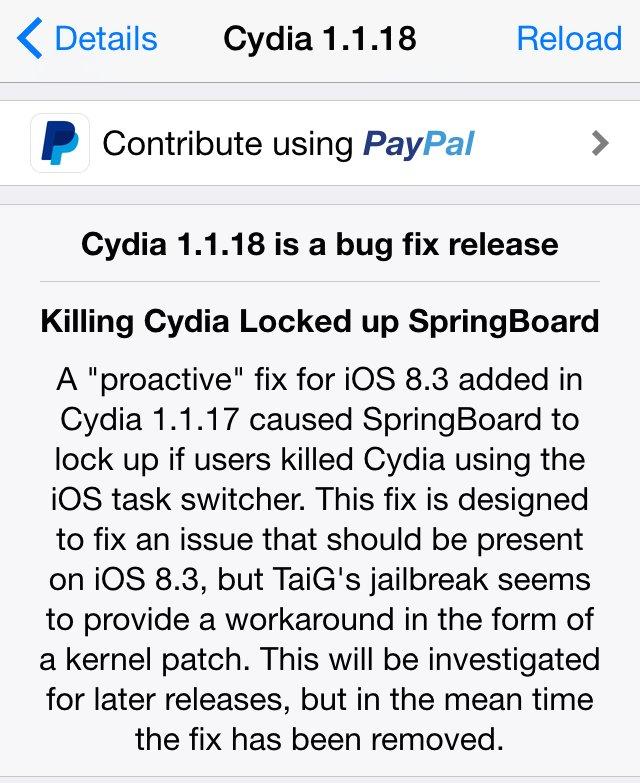 Cydia 1.1.8 update problema blocare Springboard inchidere Cydia