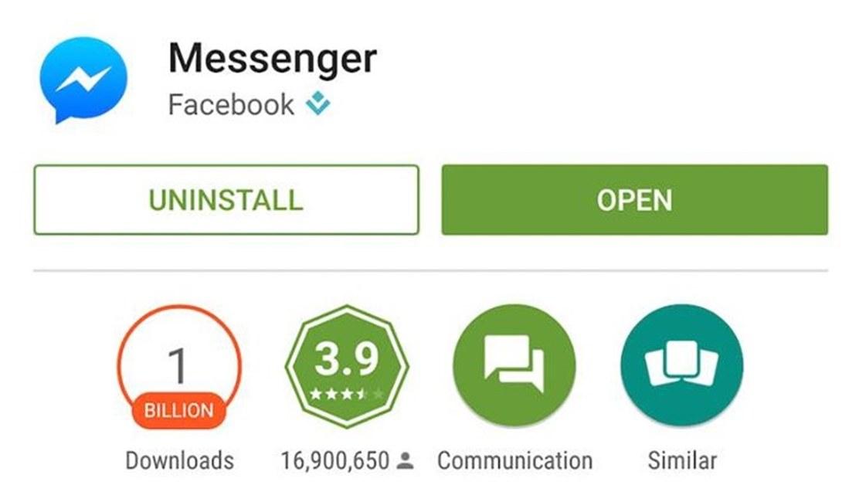 Facebook Messenger 1 miliard descarcari