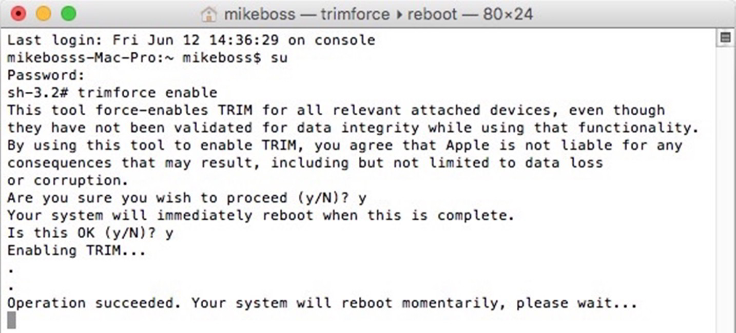 OS X El Capitan TRIM SSD